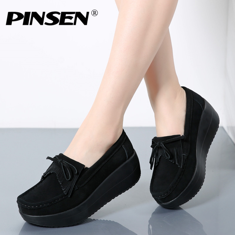PINSEN Women Flat Platform Loafers Ladies Elegant Suede Moccasins Fringe Shoes Woman Slip On Height Increase Flat Shoes Creepers pinsen women flat platform shoes woman moccasin zapatos mujer platform sandals slip on for ladies shoes casual flats moccasins