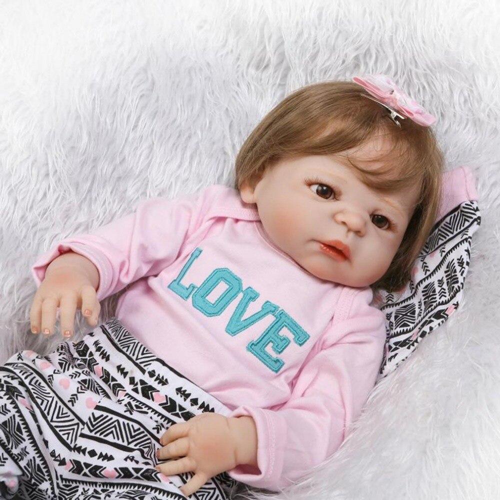 NPK 22 inch Soft Silicone Reborn Baby Doll Realistic Newborn Girl Babies Princess Dolls Kid Birthday Gift Handmade Vinyl Bonecas