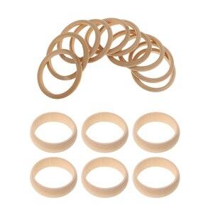 Image 2 - 16 Pieces Unfinished Natural Wooden Wood Blank Bangle Bracelet DIY, 8mm, 22mm Wide