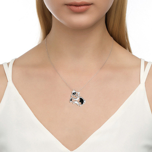 Image 5 - 2018 sterling silver 925 lovely animal cows chain pendant&necklace with black enamel diy fashion jewelry making for women gift