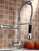 Cheaper Promotion Dual Spout Spring Pull Down Kitchen Sink Faucet Chrome Finish With Hot And Cold