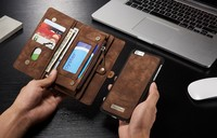14 Slots Zipper Wallet With Removable Back Cover Leather Case For Apple IPhone 6 Plus 6S