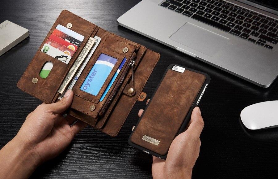 bilder für 14 Slots Reißverschluss Geldbörse mit Removable Zurück Abdeckung Ledertasche für apple iphone 6 plus/6 s plus hand nähen geldbörse marke Original