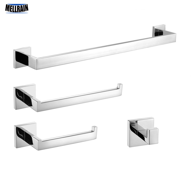 Mirror Polished Stainless Steel Bathroom Accessories Kit. Quality Chrome Towel Rack Towel Bar Paper Holder Robe Hook