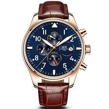 Carnival multifunções dial pulseira de couro relógio de pulso mecânico automático dos homens de negócios-moldura de ouro mostrador azul