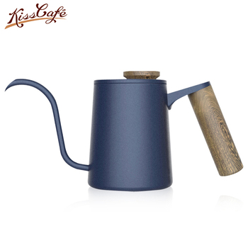 Stainless Steel Wooden Handle Coffee Hand Rushing Pot with Lid Teflon Teapot Drip Cafe Pot Long Spout Kettle Cup Tea Tool