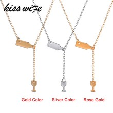 KISS WIFE 2018 Fashion 3 Colors Rose Gold Silver Wine&Cup Necklace Wine Bottle Glass Chic Necklaces Girl Lady Best Gift Choker(China)