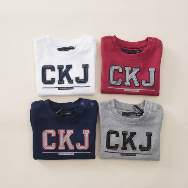 New embroidery letter 0-3 years baby boys girls long sleeve thick T-Shirts Children's T-shirt with shoulder button 100% cotton