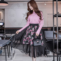 Dabuwawa saia das mulheres 2016 novo outono inverno tamanhos grandes moda casual cintura alta impressão saias de gaze rosa boneca