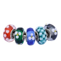 5 Style 925 Sterling Silver Bead Small Flower Glass Diy Beads Fit Women Pandora Charms Bracelets