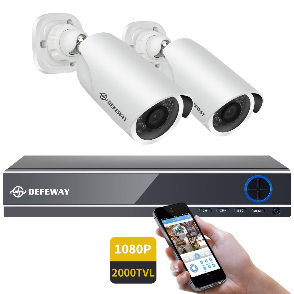 DEFEWAY HD 1080P P2P 4 CH CCTV System Video Surveillance DVR KIT 2PCS Outdoor Indoor IR