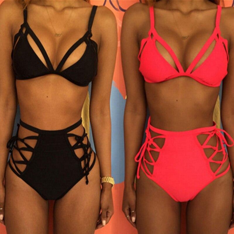 2019 New Summer Padded Bra Bikini Set Bandage High Wasit Swimsuit Women Lace Up Push-up Triangle Swimwear Bathing Beachwear