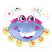 Baby Shaking Rattle Crab Animal Design Handbell Musical Instrument ABS Plastic Jingle Shaking Rattle Kids free shipping17oct24(China)