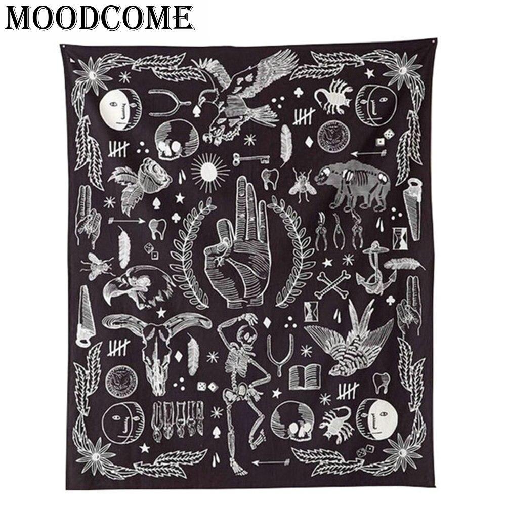OK aigle ours rose fleur tenture tapisserie 2017 nouveau design Noir Blanc mode boho tapisserie