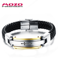 MOZO FASHION Newest Men Punk Bracelet Cross CZ Black Leather Bracelet Braided Rope Bracelet Male Vintage