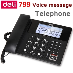 [ReadStar]Deli 799 Voice message corded telephone home office 4G SD card  free caller ID temprature date time display