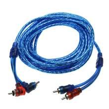 Amplificador de sistema de áudio, 5m, 2 rca para 2 rca, plugue para carro, cabo de cobre puro trançado para cinema em casa novo sistema de hi-fi estéreo digital