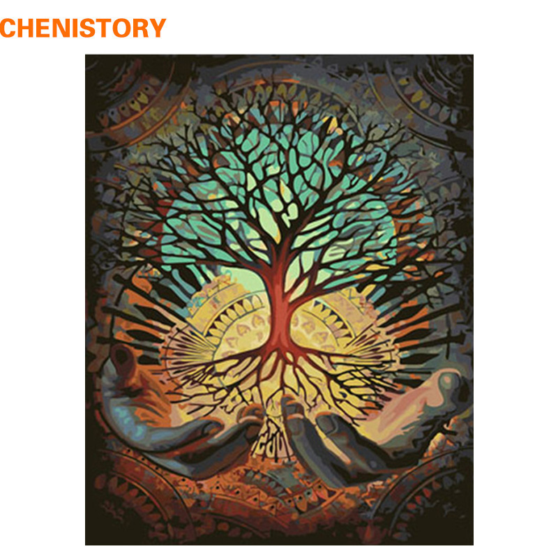 CHENISTORY Frame Picture Hands Tree DIY Painting By Number Landscape Acrylic Paint By Numbers Handpainted Picture By Numbers Art