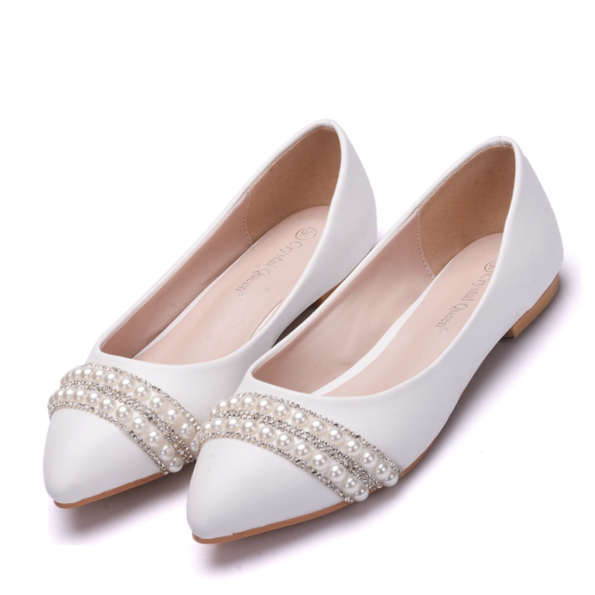 Crystal Queen Women Bridal Shoes handmade Lady pearl white wedding shoes  flats sexy comfortable White Pearl Dress Shoes 8291ab46b926