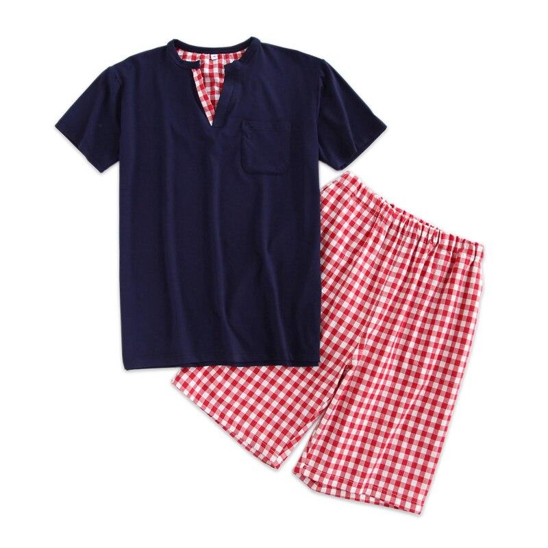 Pajamas-Sets Male Homewear Short Sexy Summer 100%Cotton Plaid V-Neck For Men Simple