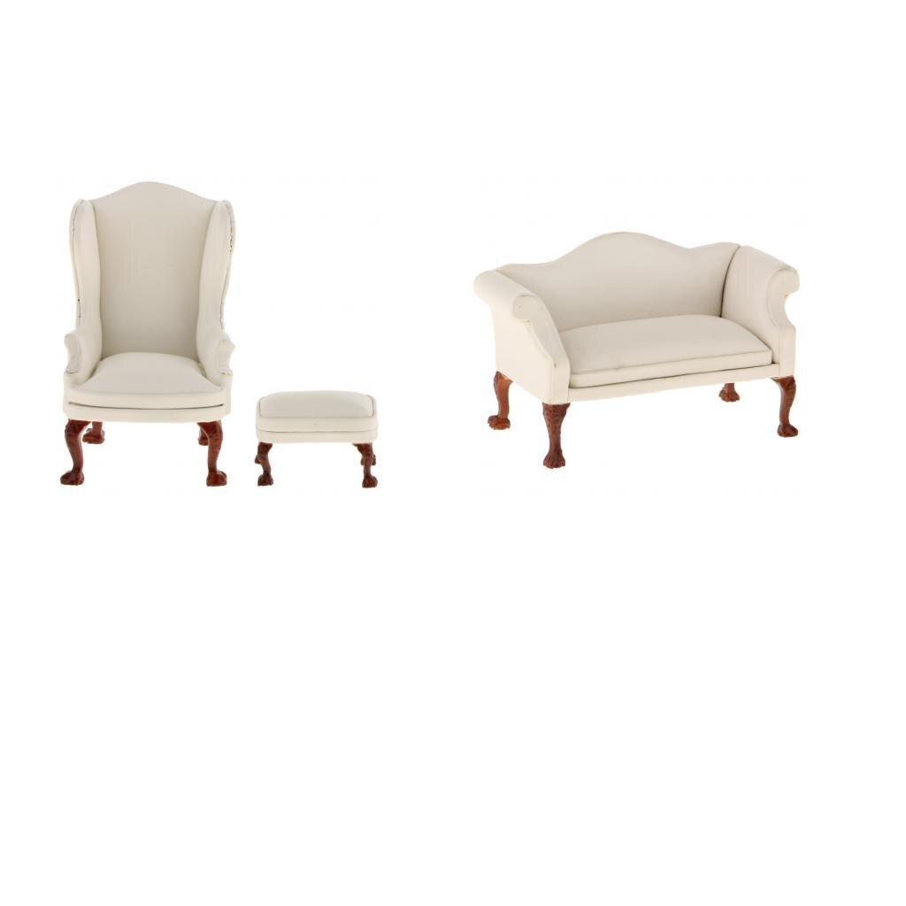 Dollhouse 4Pcs Living Room Furniture Set 1:12 Miniature Decor Accessories Yellow