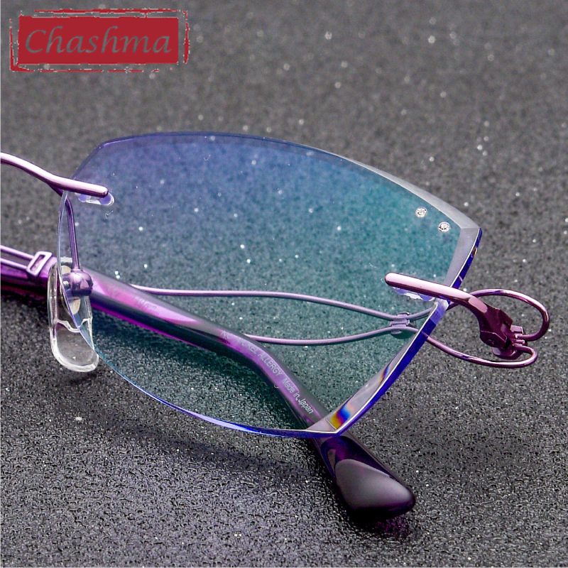 Chashma Fashion Designer Women Spectacle Titanium Rimless Glasses for Graduated Lenses Pure Titanium Light Spectacles Optical