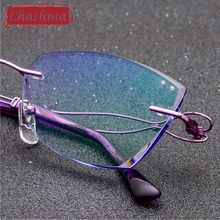 Chashma Fashion Designer Women Spectacle Titanium Rimless Glasses for Graduated Lenses Pure Light Spectacles Optical