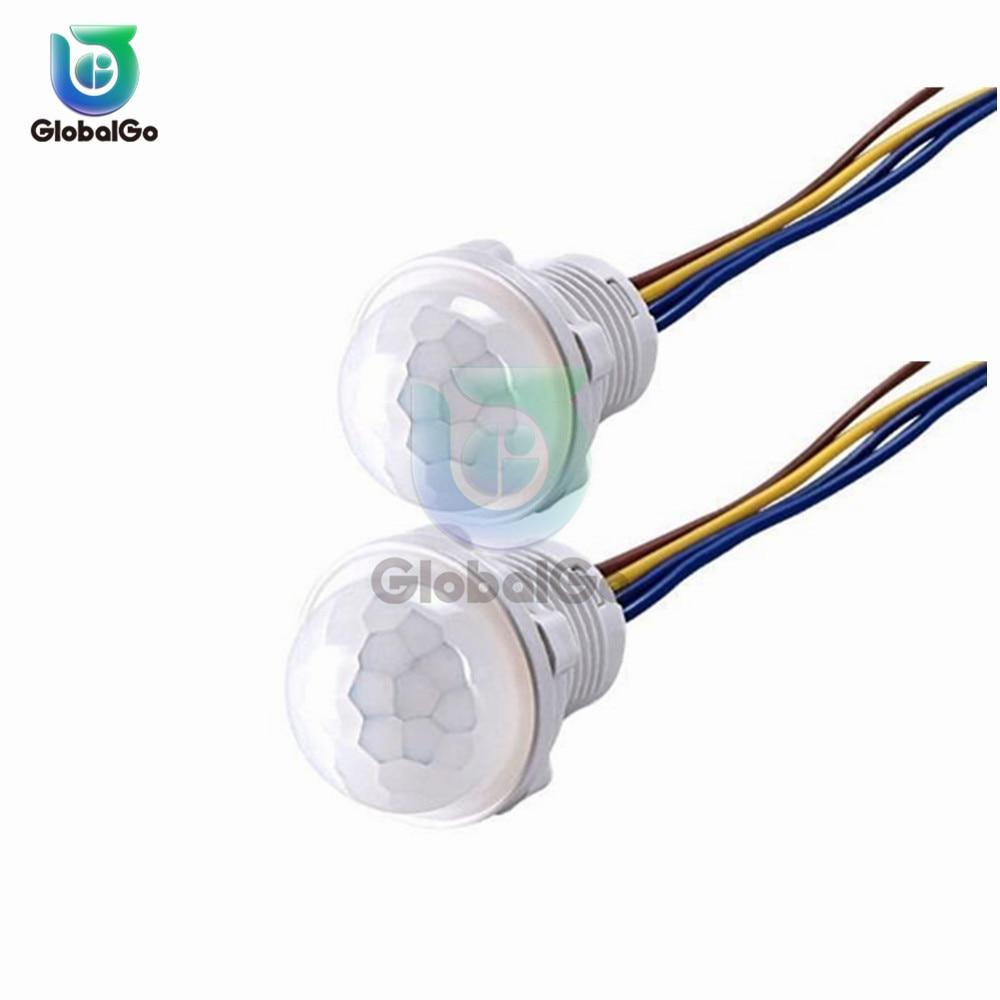 5pcs/Lot 25mm LED PIR Detector Infrared Motion Sensor Switch W/Time Delay Adjustable 828 Promotion Mini PIR Sensor Detector