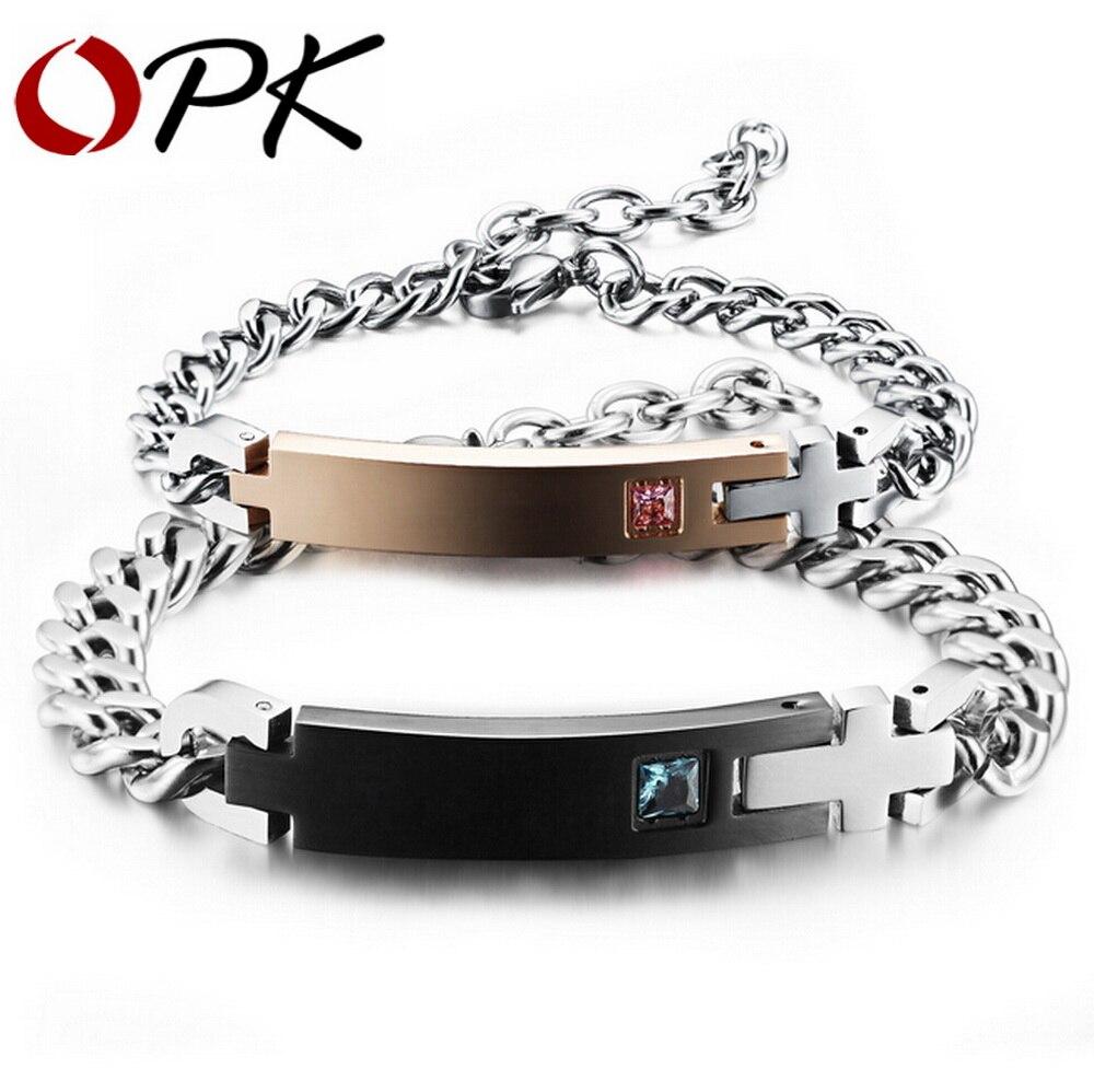 Bracelet d'identification de Couple de nom personnalisé par Laser d'opk pour la chaîne en cristal de Surface blanche d'amant GS718G