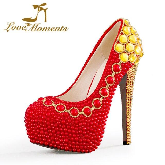 b0470f9717 Liebe Momente perlen rote hochzeitsschuhe braut high heel schuhe frau pumpt  plattform hochzeit kleid partei damen