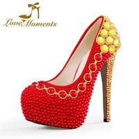 Momentos de amor perlas rojo de la boda zapatos de novia zapatos de tacón alto mujer bombas de la plataforma de la boda vestido de partido de las señoras zapatos de las mujeres
