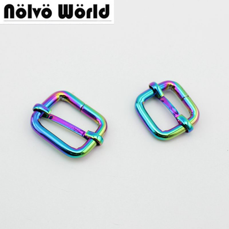 10pcs 50pcs 20mm 26mm Rainbow Slider Buckle DIY Belt Ribbon Roll Buckle Strap Adjuster