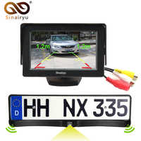 """3in1 HD CCD European Russia License Plate Frame Rear View Camera With 2 Parking Sensors + 4.3"""" Car Video Parking Monitor"""