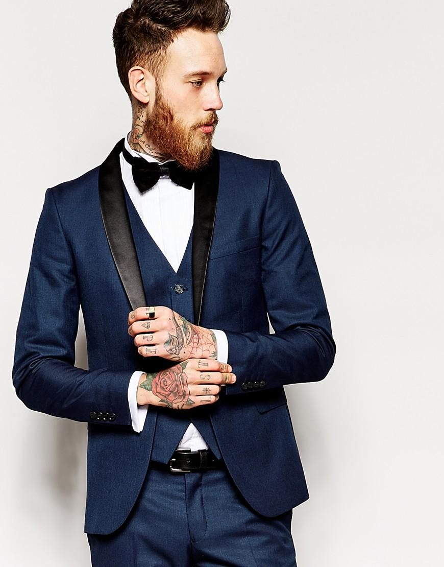 Black dress navy blazer - Classic Style One Button Navy Blue Groom Tuxedos Groomsmen Mens Wedding Suits Prom Dress Jacket