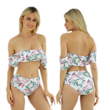 High Waist Swimsuit Off The Shoulder Swimwear Women Floral Striped Print Ruffle Bikini Set Sexy Swimsuits Women bathing suits us недорго, оригинальная цена