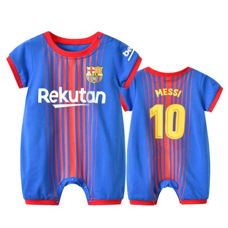 Newborn Bebe Football Barcelona Blue NO.10 Clothes Suit Infant   Romper   Boys Girl Onesie Garcon Outfit Loose Sport Summer Jumpsuit