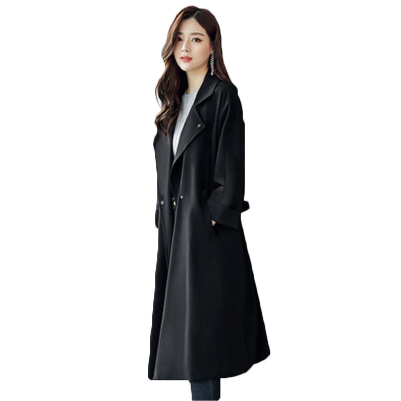 Fashion Long Windbreaker Female 2018 Spring Autumn New Chic Korean Plus Size Knee-Length Trench Coat For Women With Belt A308
