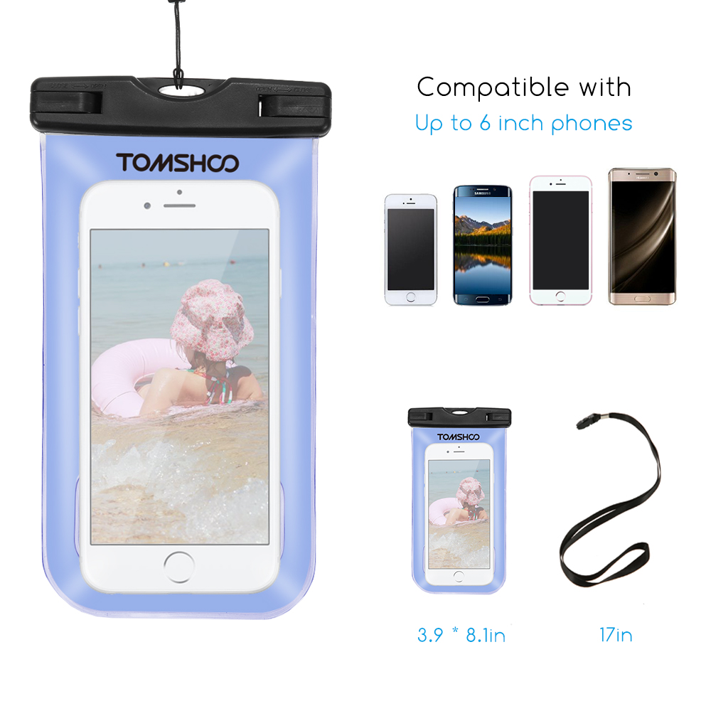 "Image 3 - TOMSHOO Waterproof Phone Case Dry Bag Outdoor Sports Pouch Transparent Touch Screen Cellphone Case for 6.0"" Devices-in Storage Bags from Home & Garden"