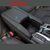 BBQ@FUKA New Car Styling Interior Box For Honda Civic 2016 2017 2018 PU Leather Center Armrest Box Surface Case Cover Trim BlK
