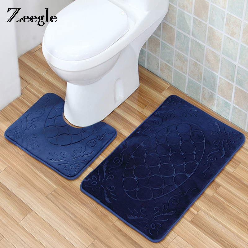 Zeegle 3D Non-slip Absorbent Washable Bathroom Mats Set Toilet Carpet Shower Room Rugs Closestool Foot Pad Pan Lid Cover