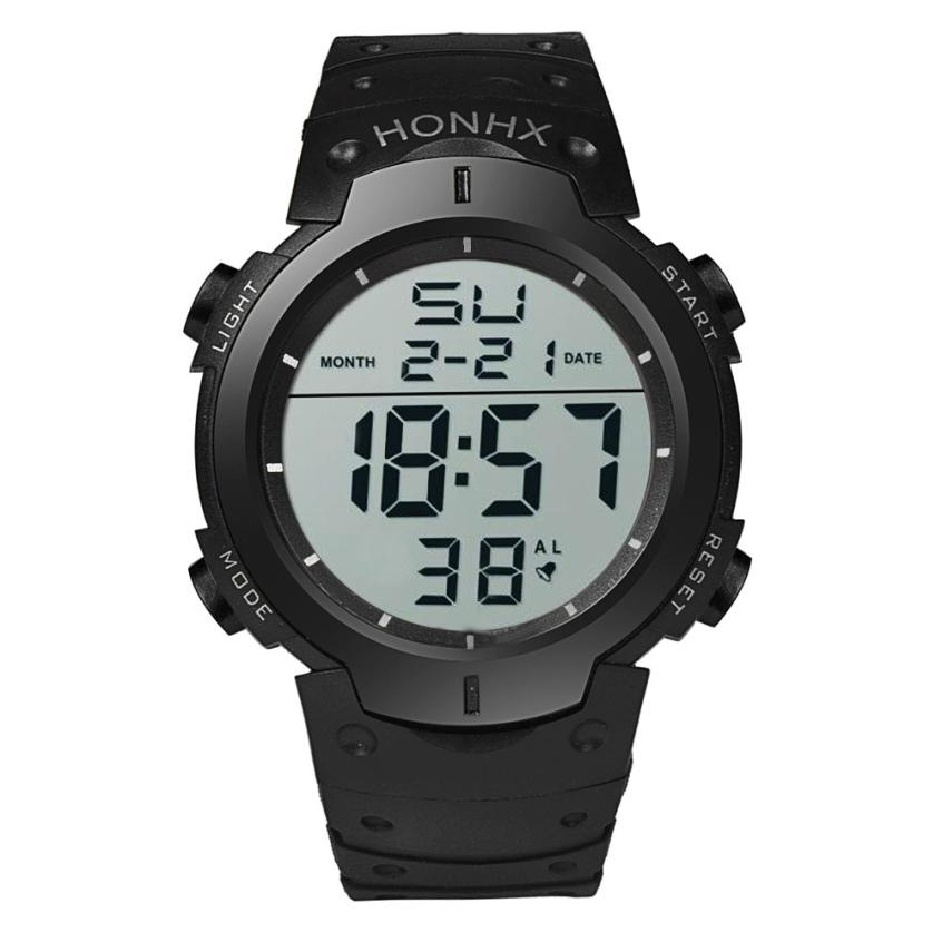 HF 2018Fashion Waterproof Men's Boy LCD Digital Stopwatch Date Rubber Sport Wrist Watch Levert Dropshipa Box F825