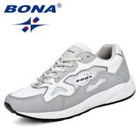 BONA Lightweight Outdoor Sports Shoes Men Sneakers Comfortable Leather Jogging Mesh Tennis Human Race Running Shoes Men Trendy