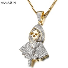 Hiphop Rock Skeleton Necklace Punk Ghost Party Jewelry Jesus Cross Specter Pendant CZ Crystal Necklaces Party Iced Out