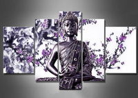 5 Pieces No Frame Modern Buddha Flower Oil Paintings On Canvas Purple Flower Art Buddha Wall