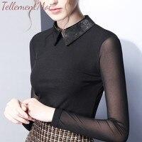 New Fashion Women Stitching Base Shirts Lapel Long Sleeve Mesh Bottoming Shirt Velour Elegant Office Lady Simple Classic Tops