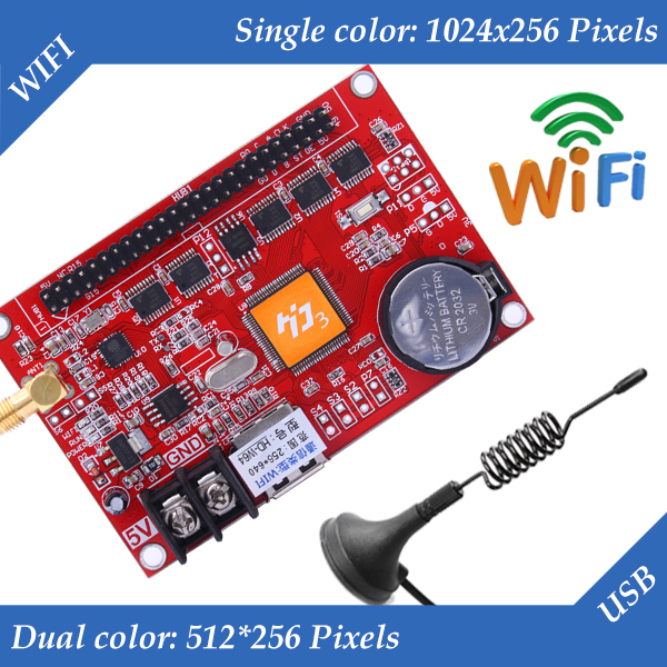 HD-W64 USB+Wifi Wireless P10 LED Display Controller, Single&Dual Color Automatic Connect LED Control Card