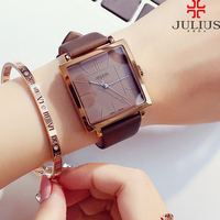 Hot women genuine leather band big dial wristwatch Female square watches women Original fashion casual quartz watch Julius 354