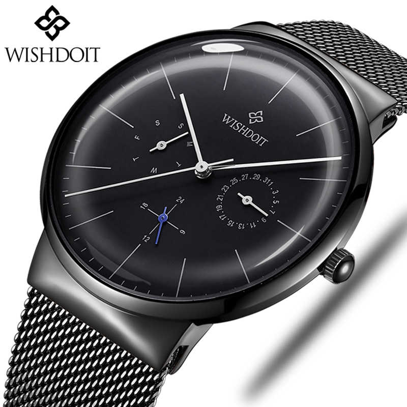 WISHDOIT Men's Watches Top Brand Luxury Quartz Watch Men Fashion Casual Slim Ultra-thin Waterproof Sport Watch Relogio Masculino