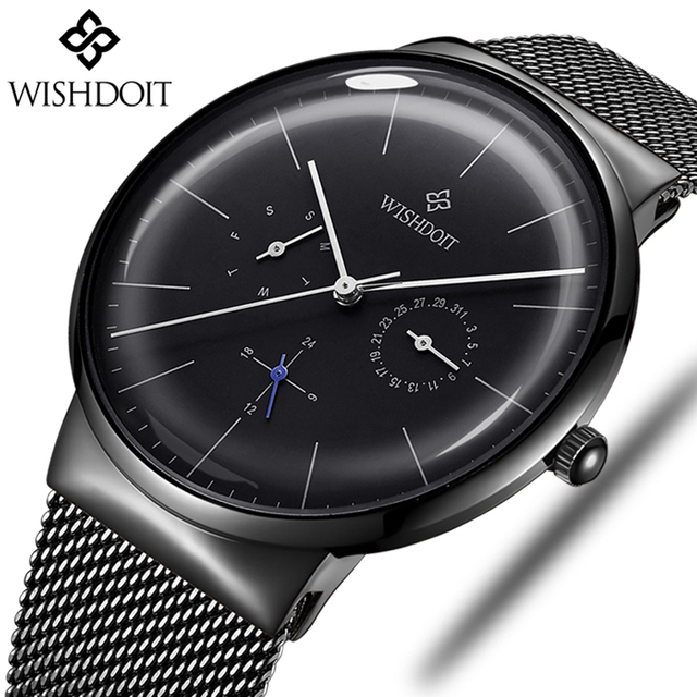 64a698161 WISHDOIT Men's Watches Top Brand Luxury Quartz Watch Men Fashion Casual Slim  Ultra-thin Waterproof
