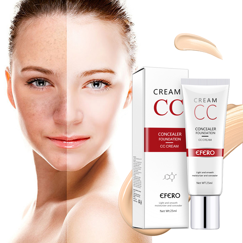 EFERO Waterproof CC Cream Foundation Makeup for Face Spot Acne Concealer Cream Face Contouring Make Up Concealer CC Cream 25ml image